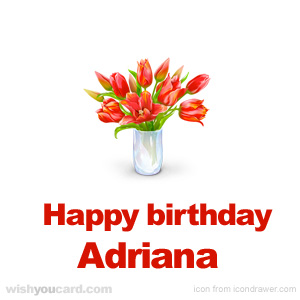 happy birthday Adriana bouquet card