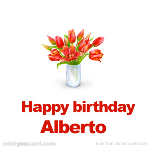 happy birthday Alberto bouquet card