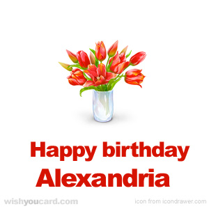 happy birthday Alexandria bouquet card