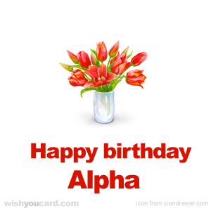 happy birthday Alpha bouquet card