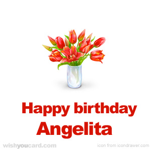 happy birthday Angelita bouquet card