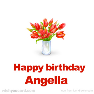 happy birthday Angella bouquet card
