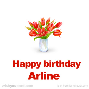 happy birthday Arline bouquet card