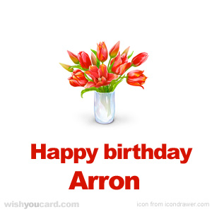 happy birthday Arron bouquet card