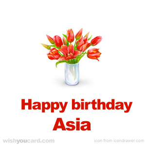 happy birthday Asia bouquet card