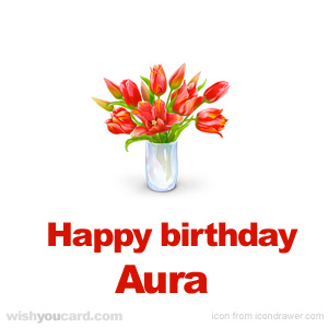 happy birthday Aura bouquet card