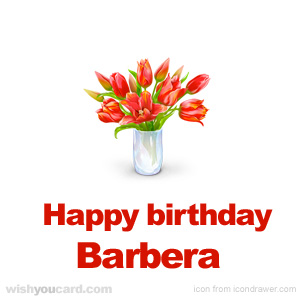 happy birthday Barbera bouquet card