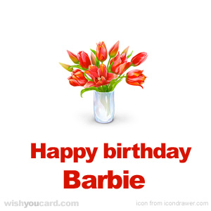 happy birthday Barbie bouquet card