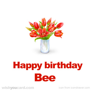 happy birthday Bee bouquet card