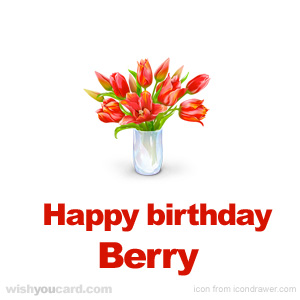 happy birthday Berry bouquet card