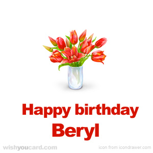 happy birthday Beryl bouquet card