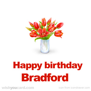 happy birthday Bradford bouquet card
