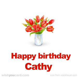 happy birthday Cathy bouquet card