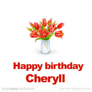 happy birthday Cheryll bouquet card