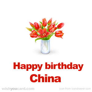 happy birthday China bouquet card