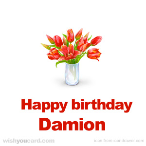 happy birthday Damion bouquet card