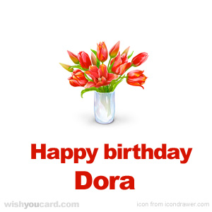 happy birthday Dora bouquet card