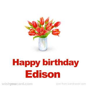 happy birthday Edison bouquet card