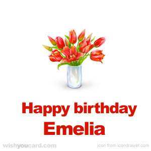 happy birthday Emelia bouquet card