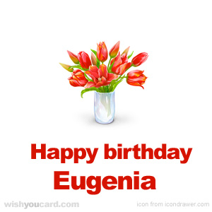 happy birthday Eugenia bouquet card