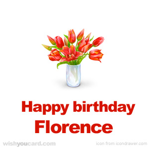 happy birthday Florence bouquet card