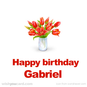 happy birthday Gabriel bouquet card