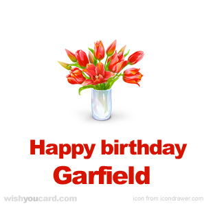 happy birthday Garfield bouquet card