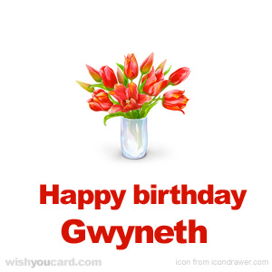 happy birthday Gwyneth bouquet card
