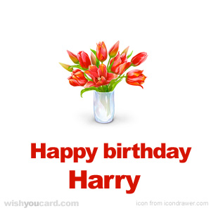 happy birthday Harry bouquet card