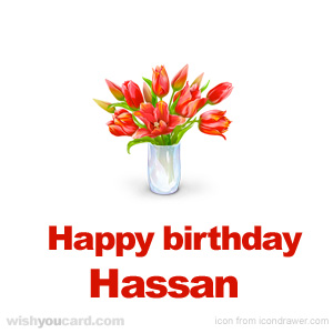 happy birthday Hassan bouquet card