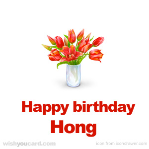 happy birthday Hong bouquet card