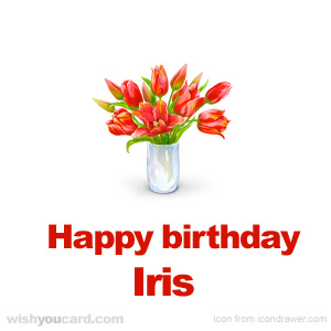 happy birthday Iris bouquet card