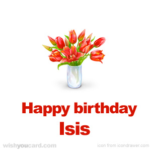 happy birthday Isis bouquet card