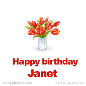 happy birthday Janet bouquet card