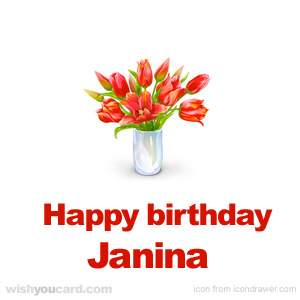 happy birthday Janina bouquet card