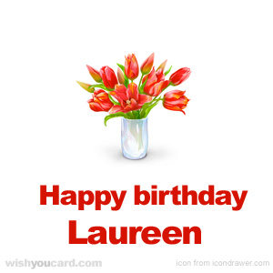 happy birthday Laureen bouquet card