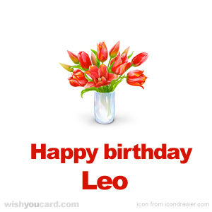 happy birthday Leo bouquet card