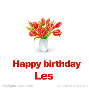 happy birthday Les bouquet card