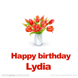 happy birthday Lydia bouquet card