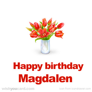 happy birthday Magdalen bouquet card