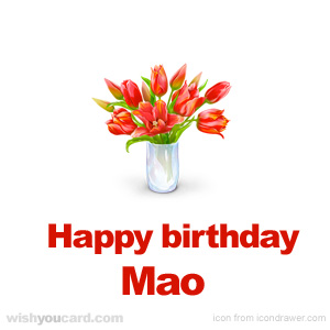 happy birthday Mao bouquet card