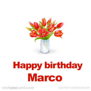 happy birthday Marco bouquet card