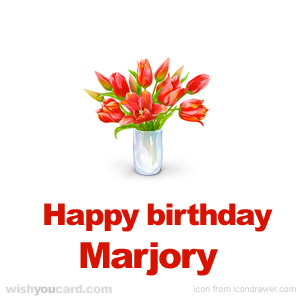 happy birthday Marjory bouquet card