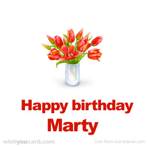 happy birthday Marty bouquet card