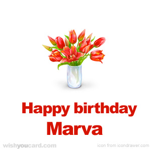 happy birthday Marva bouquet card