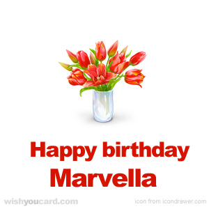 happy birthday Marvella bouquet card