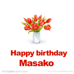 happy birthday Masako bouquet card