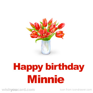 happy birthday Minnie bouquet card