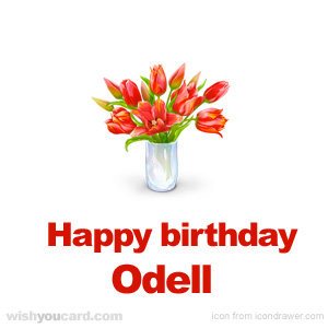 happy birthday Odell bouquet card