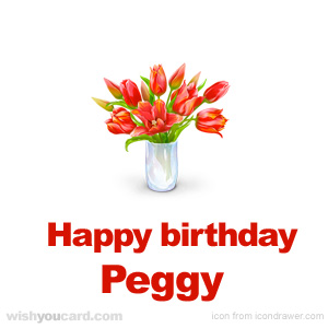 happy birthday Peggy bouquet card
